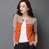 High Quality Autumn Winter Sweater Women Cardigan Sweater Spell Color Loose Double Breasted Women S Cashmere