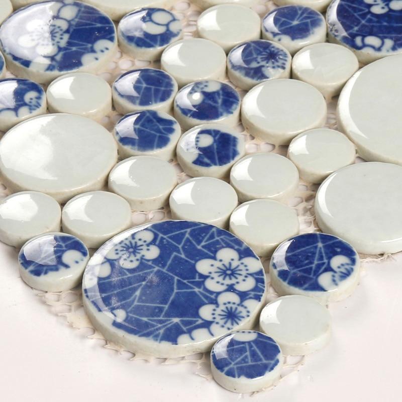 Китайские белые и синие мозаичные плитки, водостойкие напольные мозаичные обои, мозаичные плитки - Цвет: 1 LOT