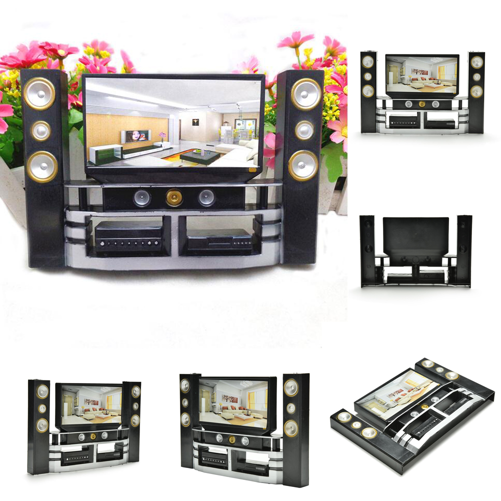 Mini DVD Hi-Fi 1:6 TV Home Theater Cabinet Set Combo Toys Accessories For Barbie Doll Kid Play House Role Doll House Furniture