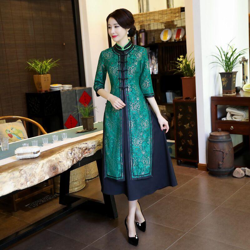 녹색 패션 중국 여자 2 pc 긴 cheongsam 새로운 도착 레이스 드레스 우아한 슬림 qipao vestidos 크기 s m l xl xxl xxxl 4xl-에서드레스부터 여성 의류 의  그룹 1