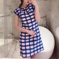 Платье в клетку для Для женщин с круглым вырезом без рукавов Мини леди туфли из органической кожи высокое качество 2018 Новый женское платье