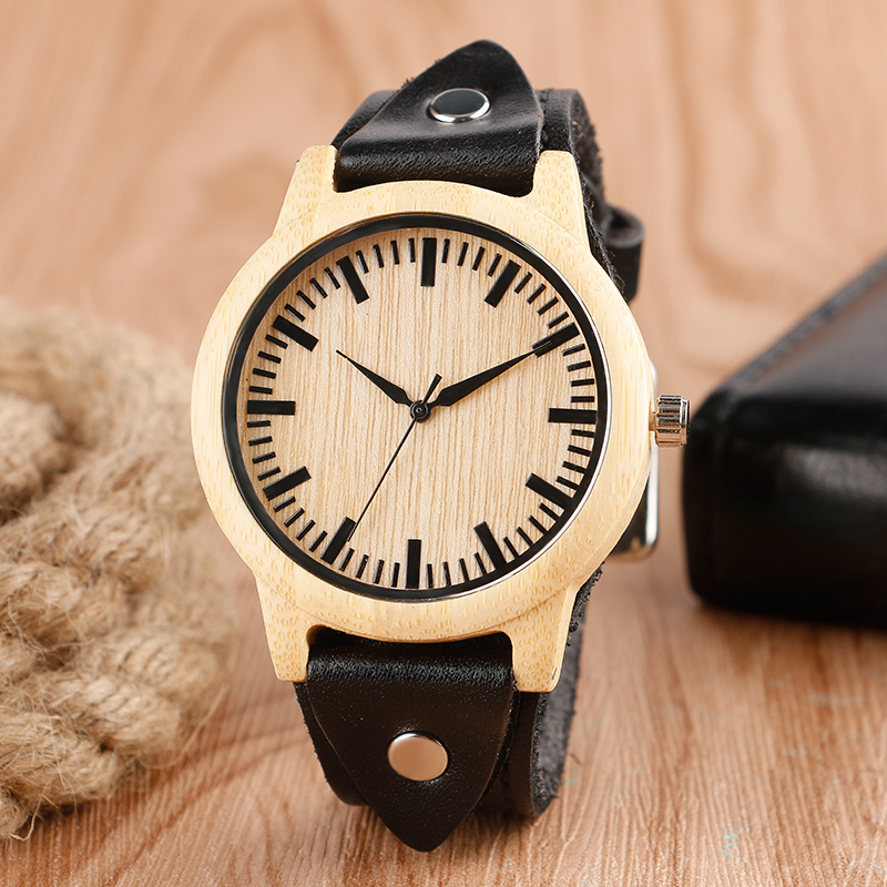 Hot Genuine Leather Band Strap Trendy Women Wrist Watch Bamboo  Nature Wood Fashion Handmade Bangle Wooden Unique Men Gift