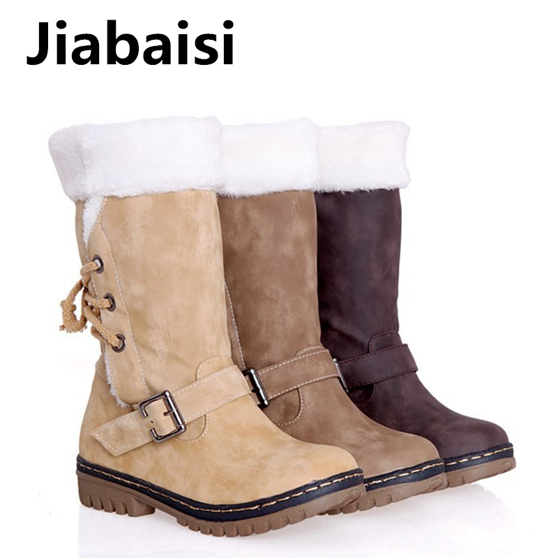 Jiabaisi shoes women's Round toe Faux fur over Calf Low heel Snow boots Lace-up Shank Chunky Riding classics women Warm booties riding boots chunky heels platform faux pu leather round toe mid calf boots fashion cross straps 2017 new hot woman shoes