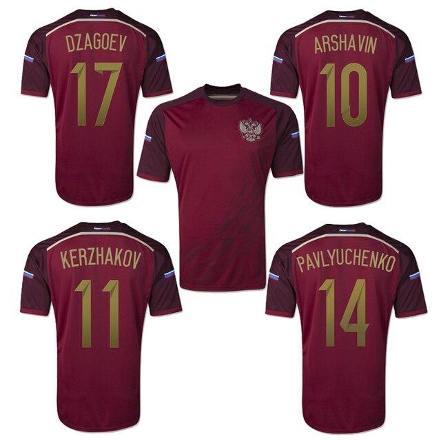 63b943470a0 2014 World Cup Russia Home ARSHAVIN KERZHAKOV DZAGOEV soccer jersey Grade  Original thai quality football jersey soccer shirt