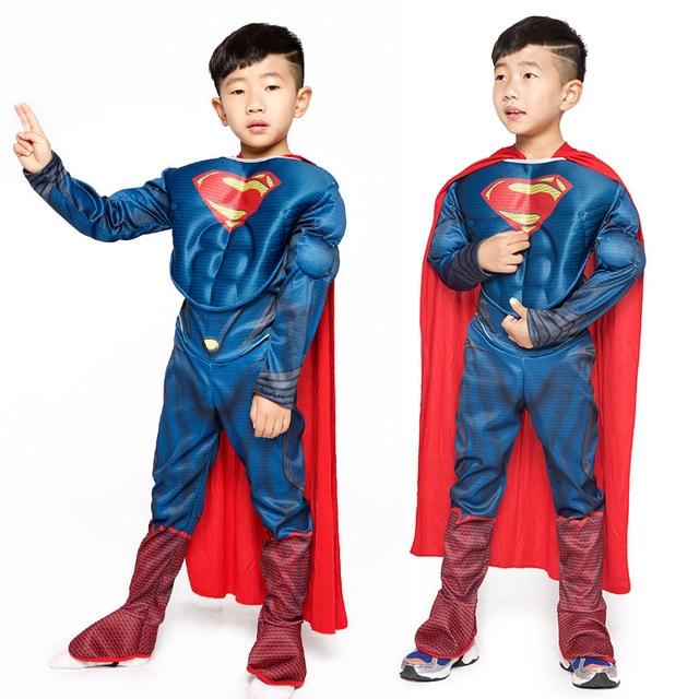 Erkek Deluxe kas Superman Cosplay cadılar bayramı kostüm çocuklar için çocuk noel kostümleri süslü elbise tulum pelerin anime