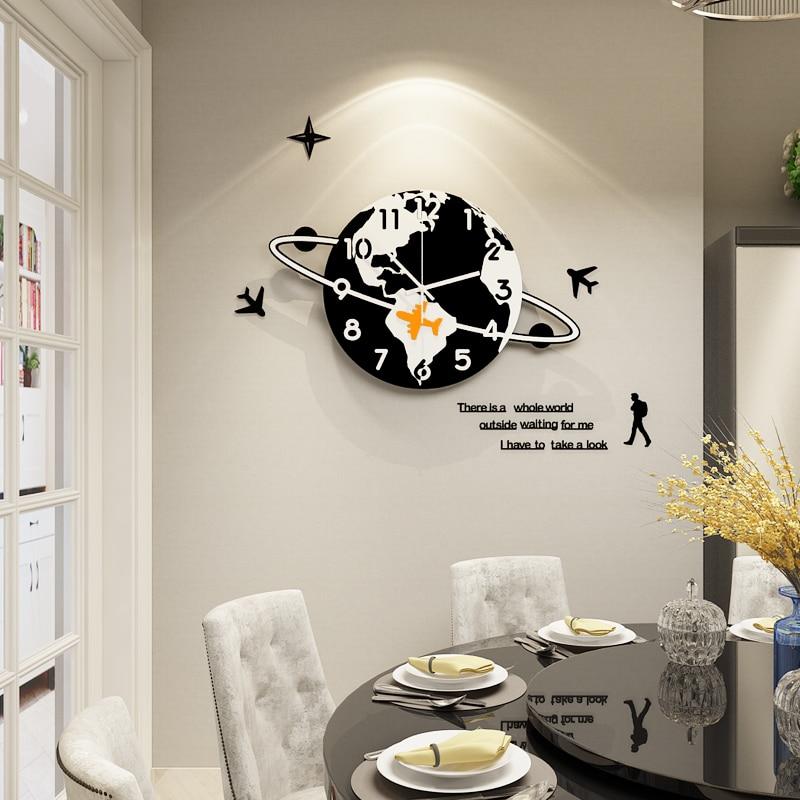 MEISD Creative Cartoon Black Planetary Plane Wall Clock Modern Design Silent Hanging With Stickers Home Decor Clocks