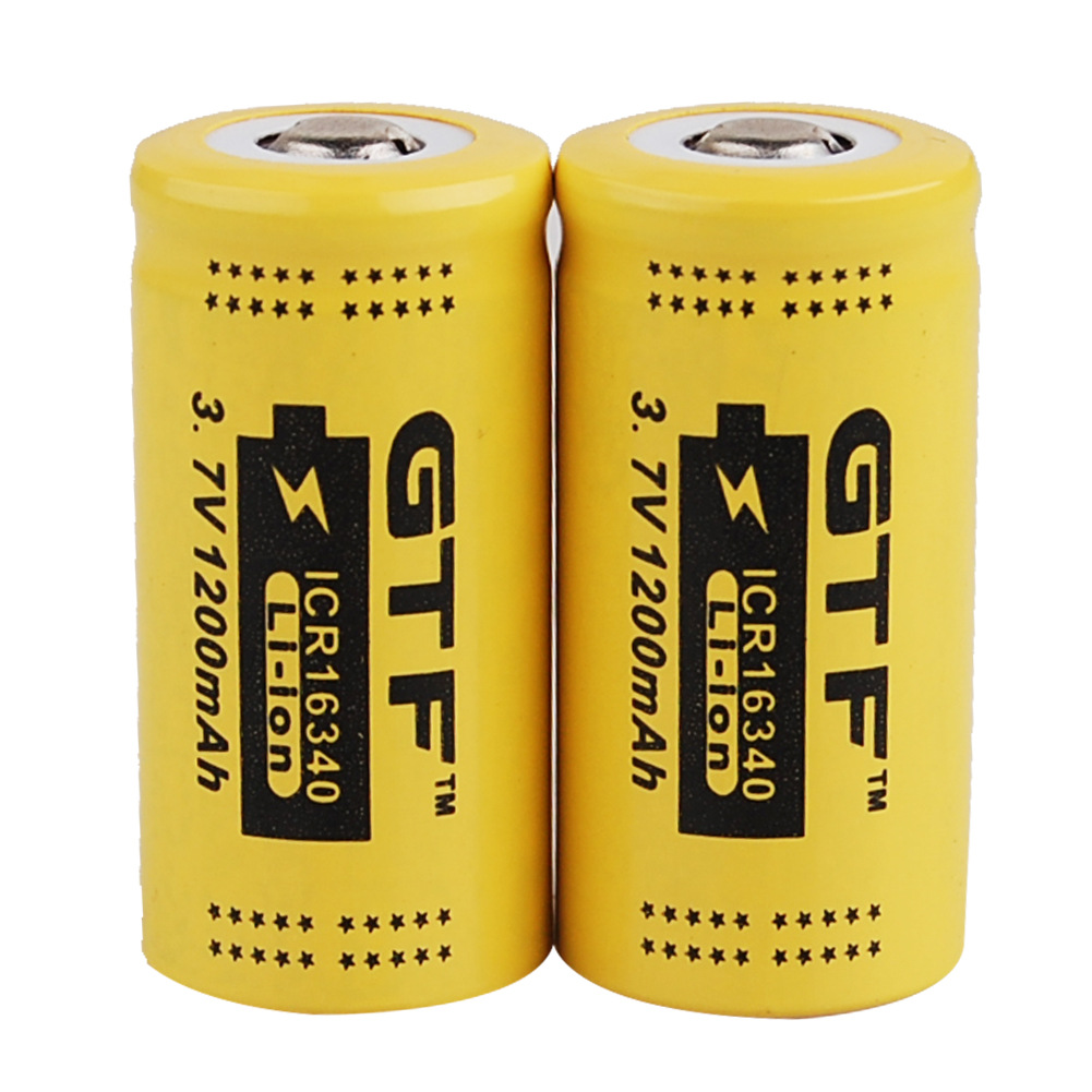 GTF 2pcs CR123 3.7v 1200mah 16340 Protected lithium-ion rechargeable battery, LED flashlight with Pcb battery 2pcs trustfire 18650 rechargeable battery 3 7v 2400mah li ion lithium battery with protected pcb portable battery storage box