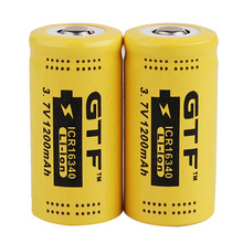 GTF 2pcs CR123 3.7v 1200mah 16340 Protected lithium-ion rechargeable battery, LED flashlight with Pcb battery