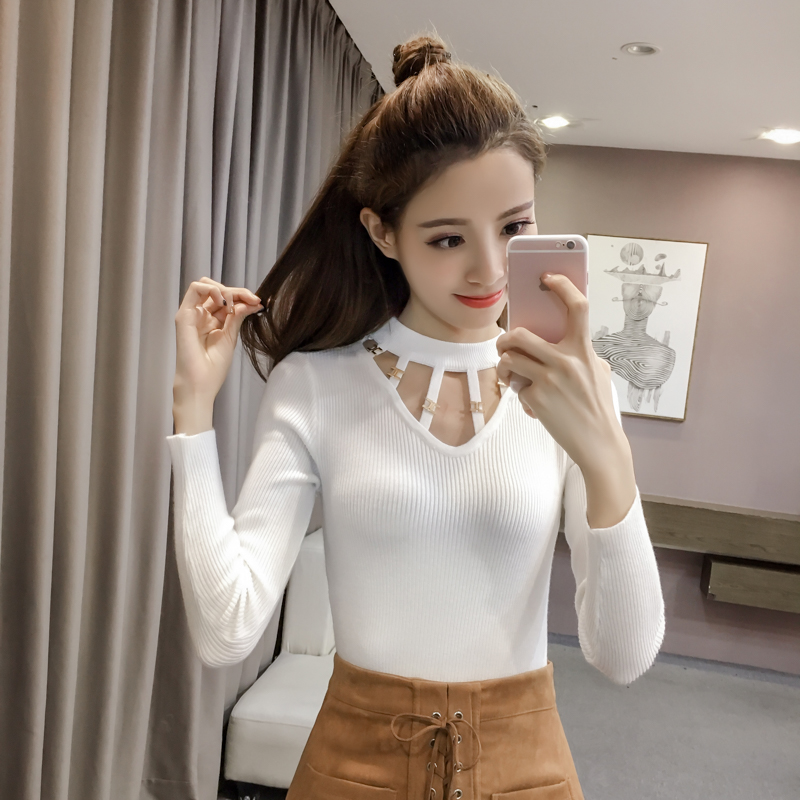 2018 Autumn Sexy Women Sweater And Pullover Hollow Round neck Female Tops Casual Solid color Knitted Pullovers Pull femme