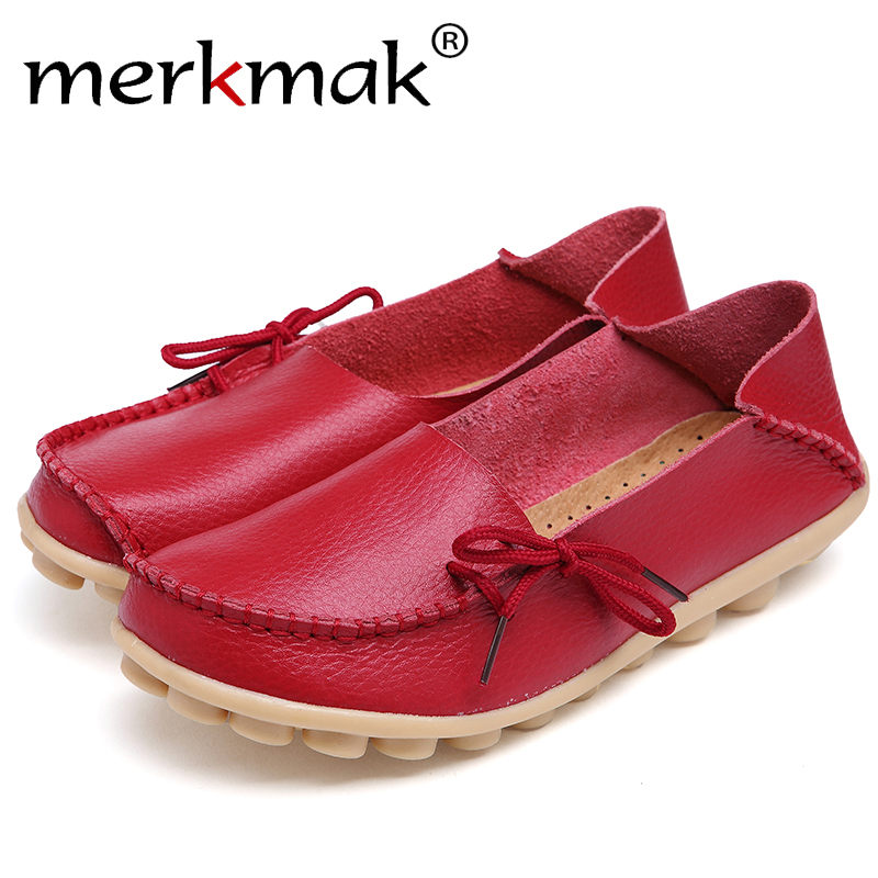 Merkmak Women Fashion Leather Shoes Leisure Mother Loafers Soft Flats Female Driving Casual Footwear Size 35-42 15 Colors Shoes 2017 new leather women flats moccasins loafers wild driving women casual shoes leisure concise flat in 7 colors footwear 918w