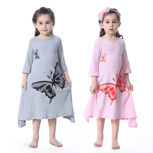 056b0dcae81d Children Big Butterfly Print Girls Dresses Summer Cotton Kids Maxi A-Line  Flared Long Sleeve Dress for Little Girls Pink Gray