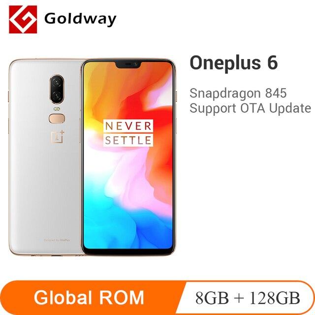 מקורי Oneplus 6 8 GB 128 GB Snapdragon 845 אוקטה Core AI כפולה מצלמה 20MP + 16MP פנים נעילת אנדרואיד 8 Smartphone נייד טלפון