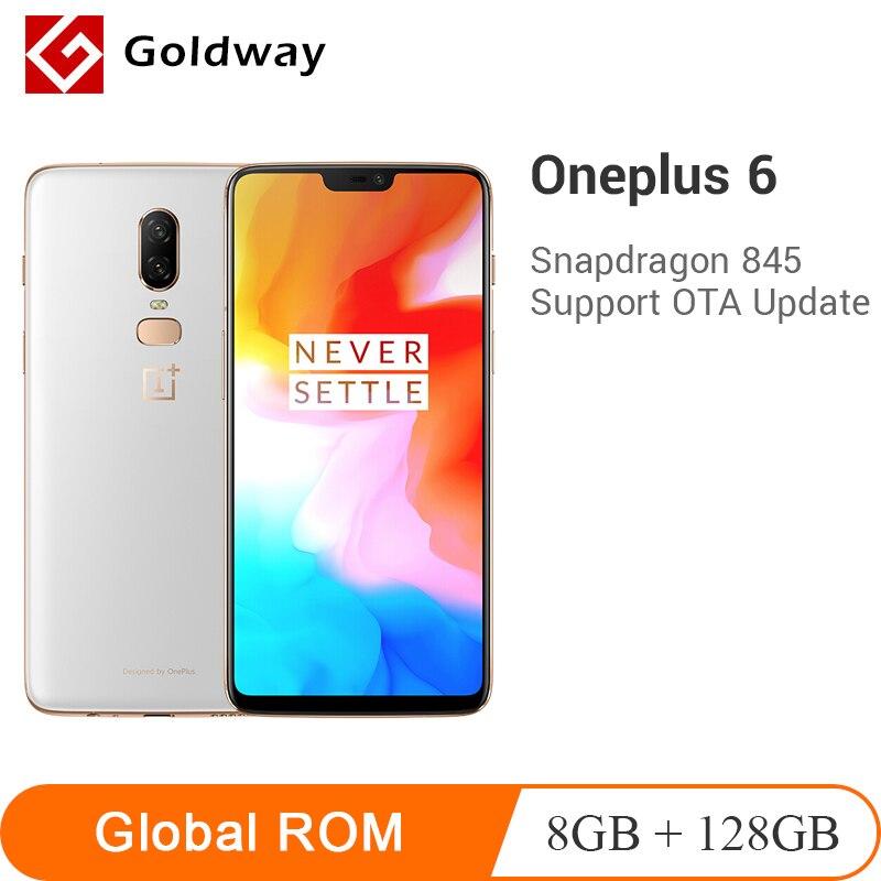 Oneplus d'origine 6 8GB 128GB Snapdragon 845 Octa Core AI double caméra 20MP + 16MP déverrouillage du visage Android 8 Smartphone téléphone Mobile