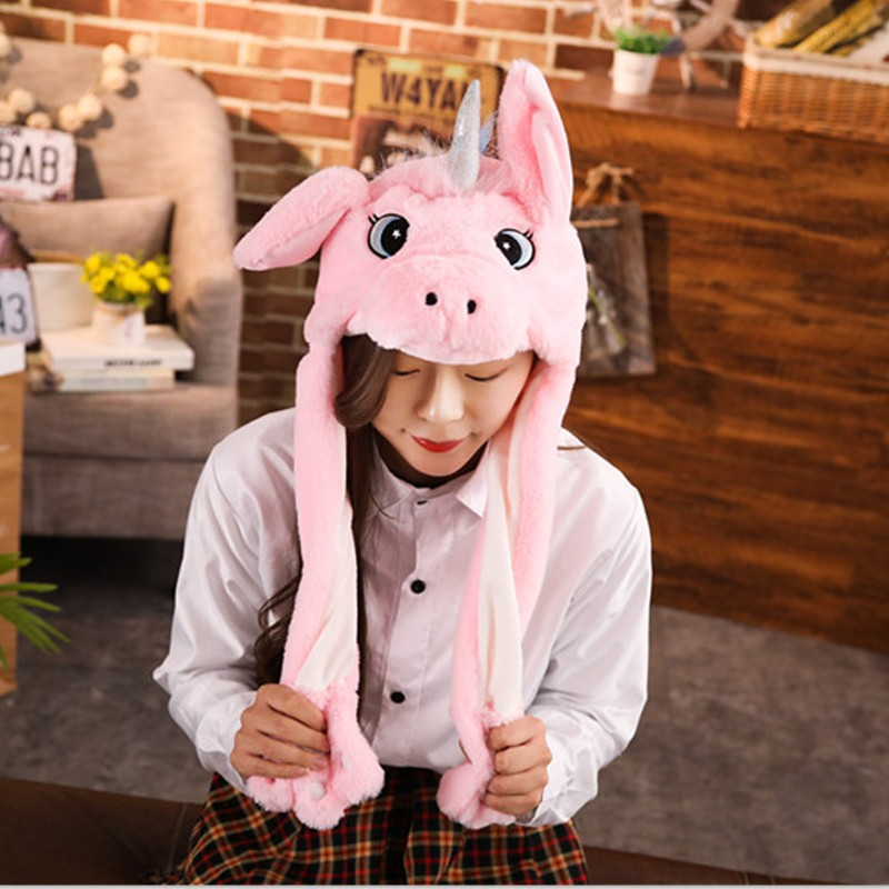 New Style Attractive Kids Cuddly Moving Ear Plush Unicorn Hat Soft Hamster Hat Dance Plush Toy For Gift