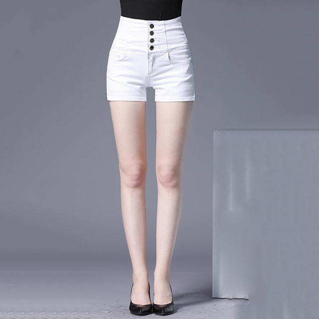 049845d5e30 Summer Skinny Denim Shorts Women Plus Size 2018 Fashion Elasticity Slim  High Waisted White Short Jeans Hot pants Womens clothing