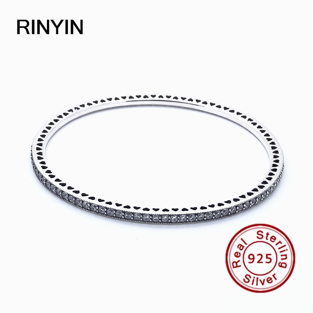 925 Sterling Silver Bracelet Compatible with Brand Jewelry Oval Eternity Bangle Round Clear CZ