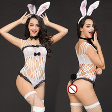2ef9921a0 New Porno Bunny Girl Cosplay Sexy Catsuit Babydoll Lingerie Sexy Hot Erotic  White Bodysuit Erotic Lingerie