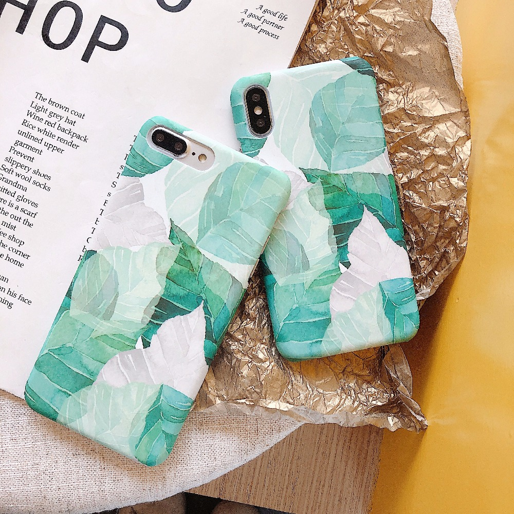 Back Cover For iPhone 7 Case Tropical Green Leaves Ultra Thin Hard PC Case For iPhone 6 6s 7 8 Plus X 10 Summer Plants Leaf Case