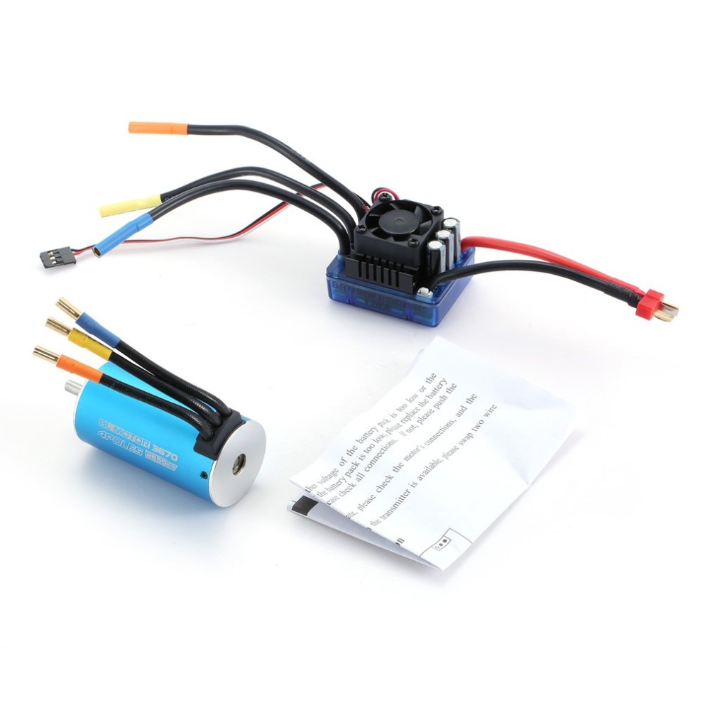 3670 2650KV 4 poles Sensorless Brushless Motor with 120A Electronic Speed Controller Combo Set for 1/8 RC Car and Truck