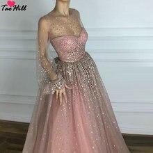 TaoHill женское платье для свадебной вечеринки ТРАПЕЦИЕВИДНОЕ блестящее розовое вечернее платье с длинными рукавами и круглым вырезом