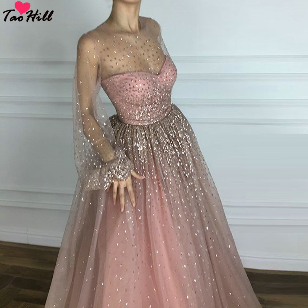 TaoHill Women Dress for Wedding Party A line O neck Shiny Material Pink Long Sleeves Evening Dress