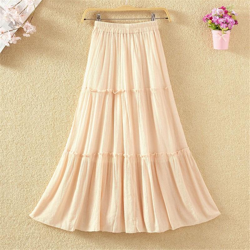8311c0329 2018 mujeres Casual Lino algodón faldas largas sólido elástico cintura  plisada Maxi faldas playa ...