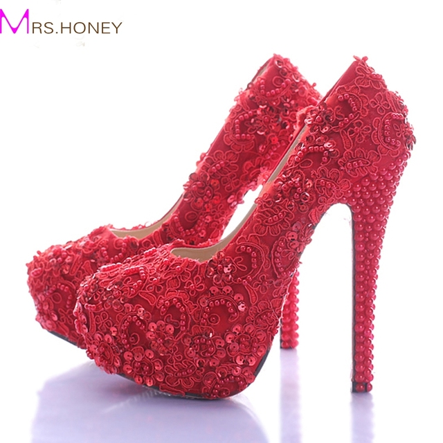 Wedding Shoes For Bride Elegant Red Lace Bridal Dress Glitter Platform High Heel Beautiful