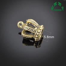 3D Crown 10pcs Mini Order Accessories DIY Metal Alloy Jewelry Vintage Gold Tone Princess Queen Charms Factory Direct crown