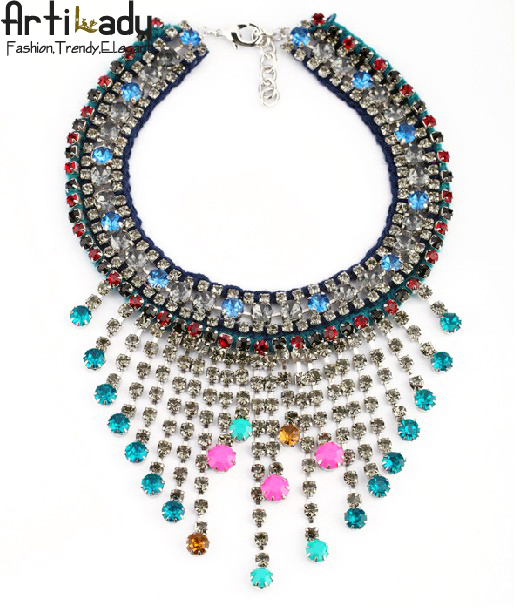 Artilady fashion choker crystal necklace luxury brand colorful purl design necklace   for women 2014  jewelry free shipping
