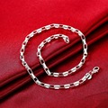 Fashion 925 Silver Box Chain Necklace For Men & Women Charm Stubby Necklace Jewelry  joyas de plata 925 gargantilla SN200