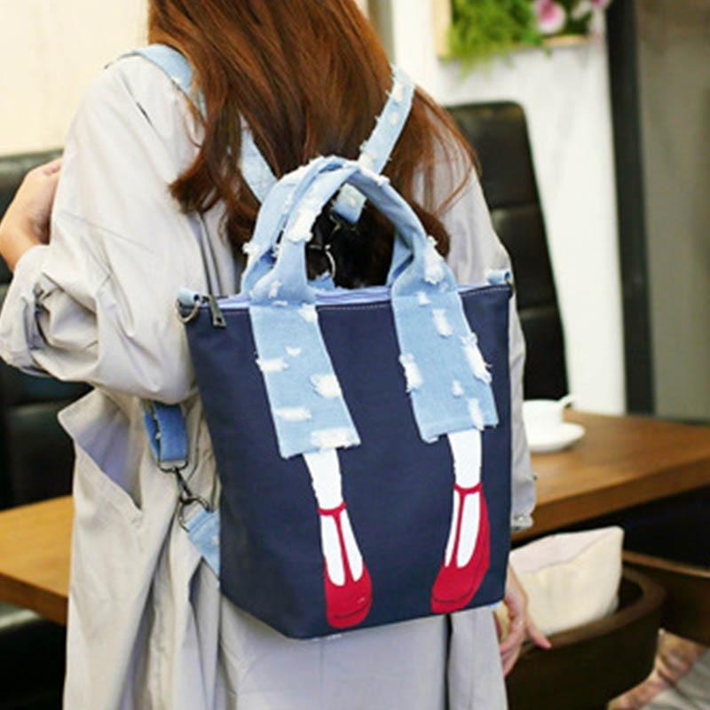 2018 Canvas Multifunction Back Packs for Teenage Girls Luxury Denim Women Laptop Back pack School Bags Ladies Shoulder Bag