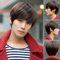 Fashion Men's Short Hair Real Wig,Dark Brown,Light Brown,Black Available,