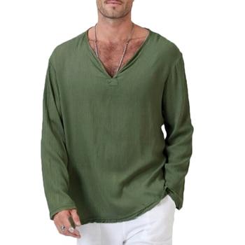 YJSFG HOUSE New Men T-shirts Long Sleeve Summer T-Shirt Cotton Hippie Shirt V-Neck Beach Top Plus Size Casual Male Tees