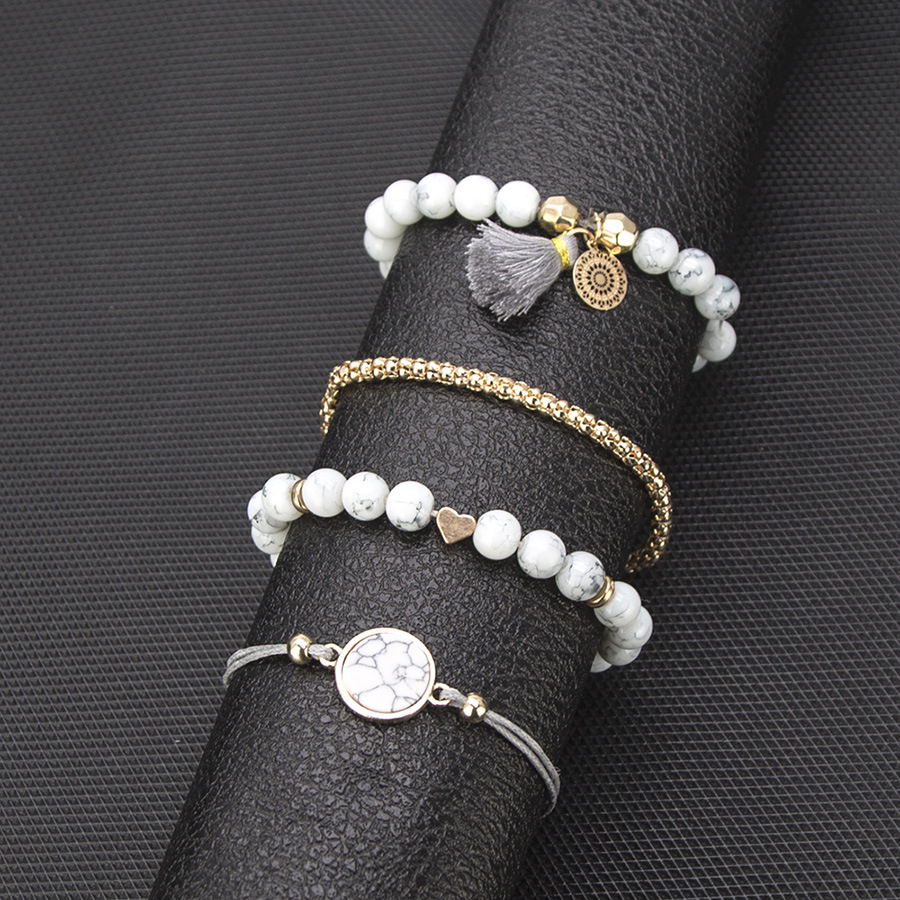 HOMOD 2019 New Bohemian Handmade Weave Heart Long Tassel Bracelet Sets Women Grey Rope Chain Bracelets Jewelry Beach Gifts in Wrap Bracelets from Jewelry Accessories