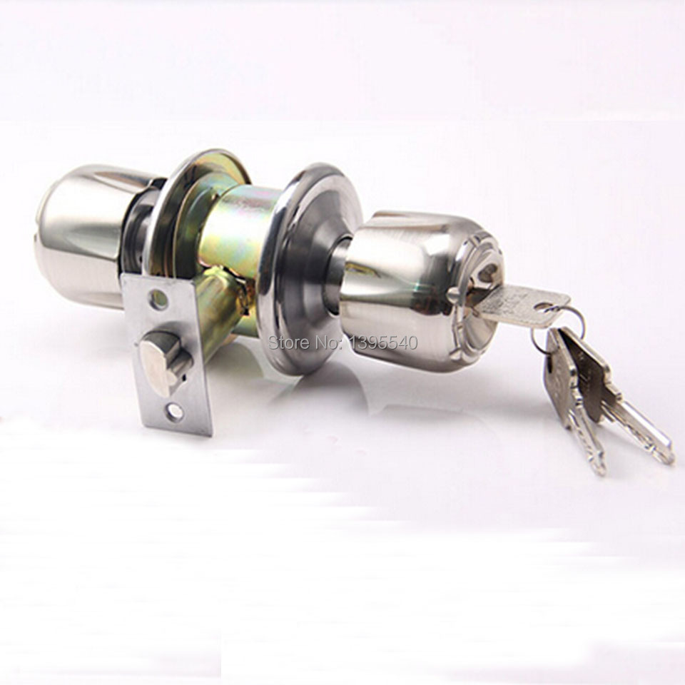 New Mechanical Indoor Door Lock Cylindrical Ball with Key Pure Copper Lock Core Door Hardware Brushed Lock Ball Wooden Door Lock ceramic lock the door when indoor european ball lock hold hand lock copper core s 016