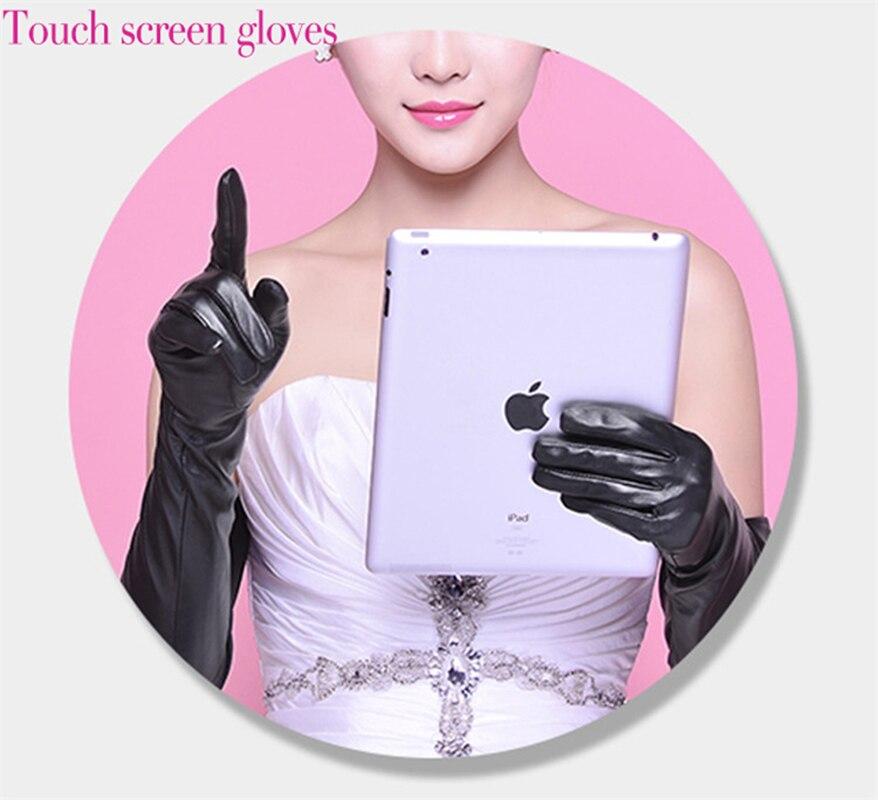 Duge kožne rukavice Ženski dodirni ekran Crna ovčja koža preko - Pribor za odjeću - Foto 5