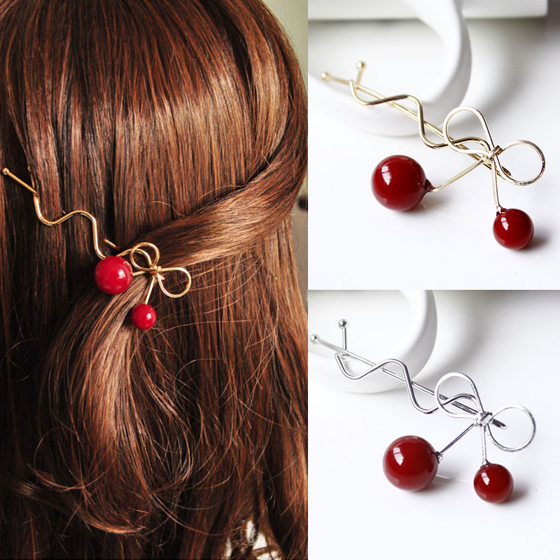 Korean Lovely Hairgrips Simple Bow Cherry Hair Accessories For Girls Women Hairpins Gold Silver Clips Barrette Dropship