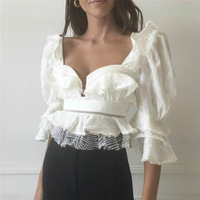 Boho Chic Tops 2019 Spring Summer High Quality Ruffles White Mesh Embroidery Blouses Womens
