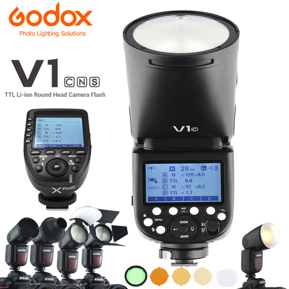 Godox V1 V1C V1N V1S TTL Li ion Round Head Camera Flash Xpro AK R1 Accessory