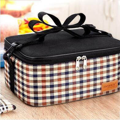 New Portable Thermal Insulated Lattice Lunch Bags Students Handbag Oxford Coth Bag Picnic Tote Storage Bag Pouch Lunchbags