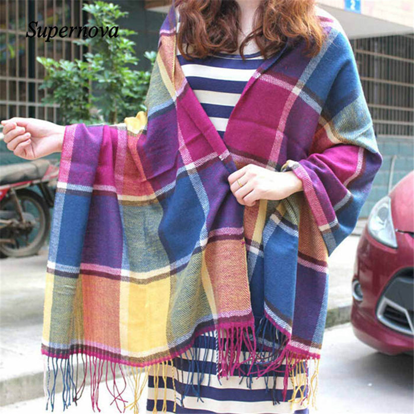 Hot Autumn Winter Coloful Oversized Blanket font b Tartan b font Shawl Scarf Warm Shawl Plaid