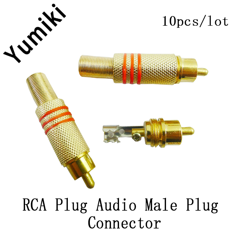 10pcs/lot Gold Plated RCA Plug Audio Male Connector W Metal Spring Black Or Red High Quality Hot Sale