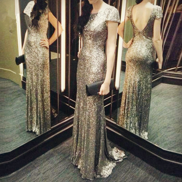 New Arrival Sliver Sequin Backless Camo Prom Dress Customized Elegant Scoop Neck Long Prom Dresses Mermaid 2016 Vestidos De Gala