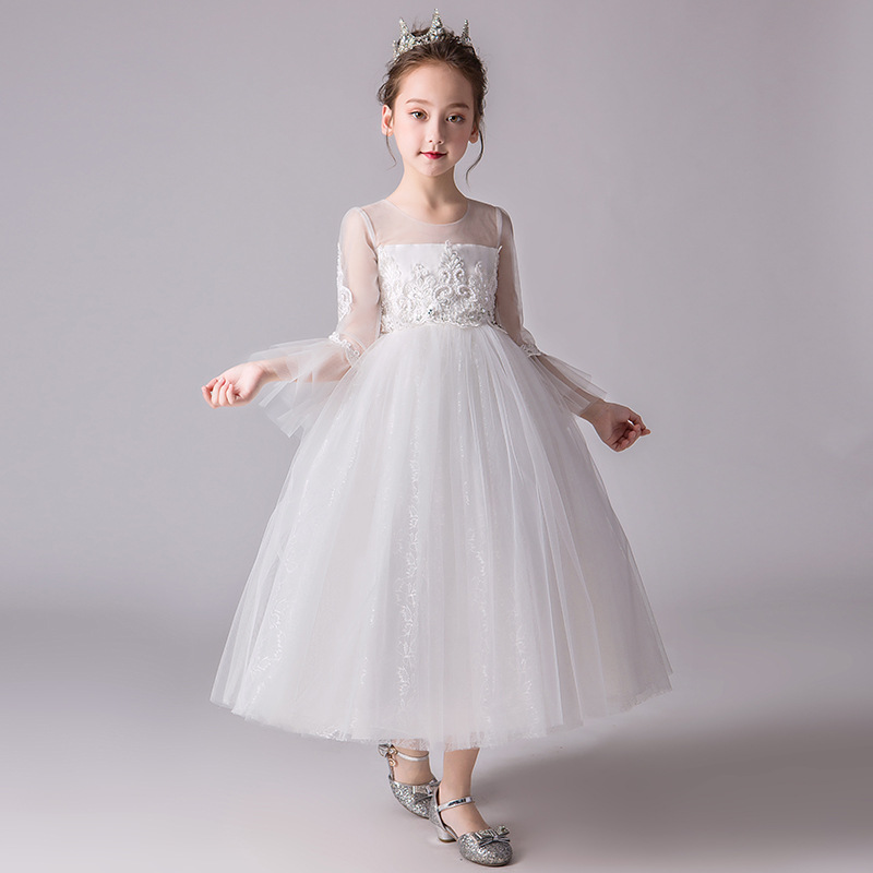 It's YiiYa   Flower     Girl     Dresses   for Wedding White Illusion Long Sleeve Embroid O-Neck Tulle Kid Party Communion   Dress   2019 CK2973