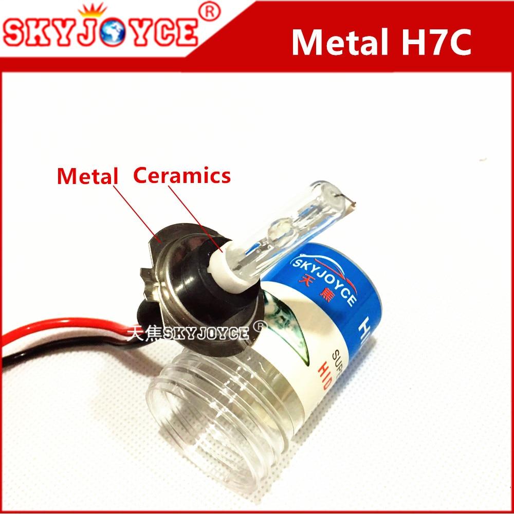 2X xenon white H7C hid auto headlight 35W 12V H7C metal holder base shorter tube hid bulb H7C car styling accessories H7C metal