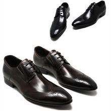 Мужские туфли-броги в деловом стиле с острым носком в британском стиле; кожаные мужские туфли с перфорацией; свадебные туфли
