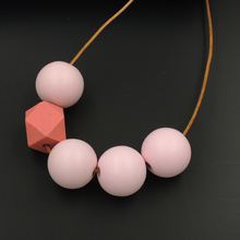 Pink Pastel Wood Beads Necklace
