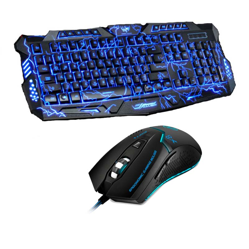 Purple/Blue/Red LED Breathing Backlight Pro Gaming Keyboard Mouse Combos USB Wired Full Key 3200dpi Professional Mouse Keyboard цены
