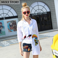 Chic Feather White Shirt Embroidery Long Shirts Ladies Tops Cute Blouses Super Quality 100% Cotton