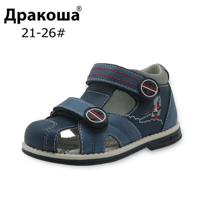 Apakowa novo verão crianças sapatos marca fechado toe da criança meninos sandálias ortopédico esporte couro do plutônio do bebê meninos sandálias sapatos